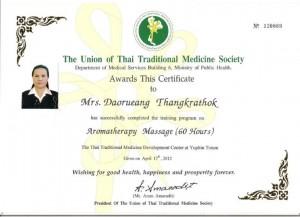 Daorueang Aroma Massage Certificate